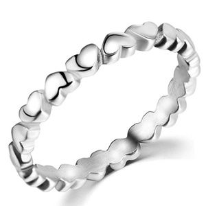 Silver hearts eternity ring band stainless steel